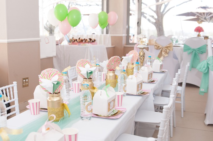 Guest tablescape from a Vintage Carousel 1st Birthday Party on Kara's Party Ideas | KarasPartyIdeas.com (7)
