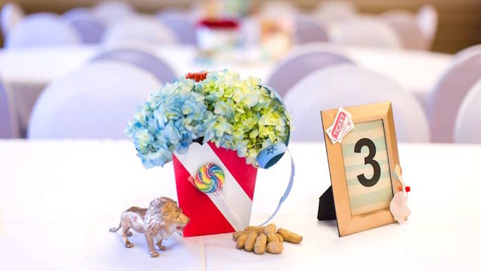 Guest table decor + table assignment from a Vintage Circus Birthday Party on Kara's Party Ideas | KarasPartyIdeas.com (40)