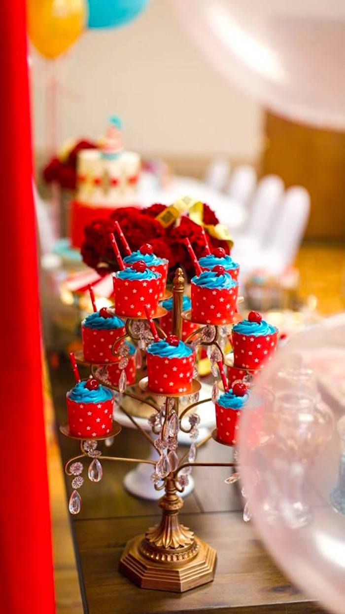 Jeweled cupcake stand with star spangled cupcakes from a Vintage Circus Birthday Party on Kara's Party Ideas | KarasPartyIdeas.com (36)
