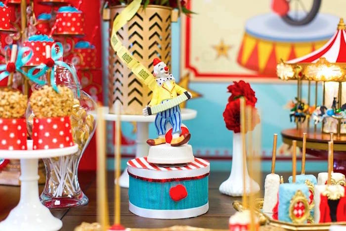 Clown decoration from a Vintage Circus Birthday Party on Kara's Party Ideas | KarasPartyIdeas.com (35)