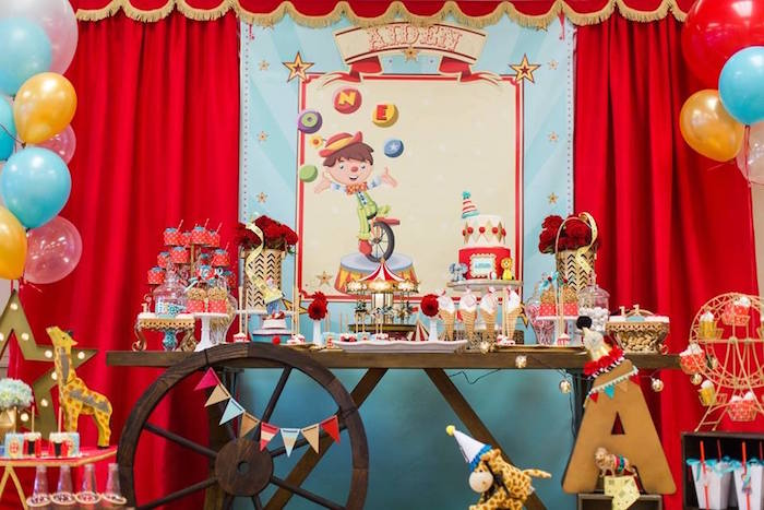 Circus themed dessert spread from a Vintage Circus Birthday Party on Kara's Party Ideas | KarasPartyIdeas.com (34)