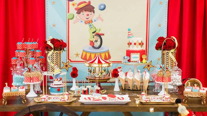 Circus themed dessert spread from a Vintage Circus Birthday Party on Kara's Party Ideas | KarasPartyIdeas.com (32)