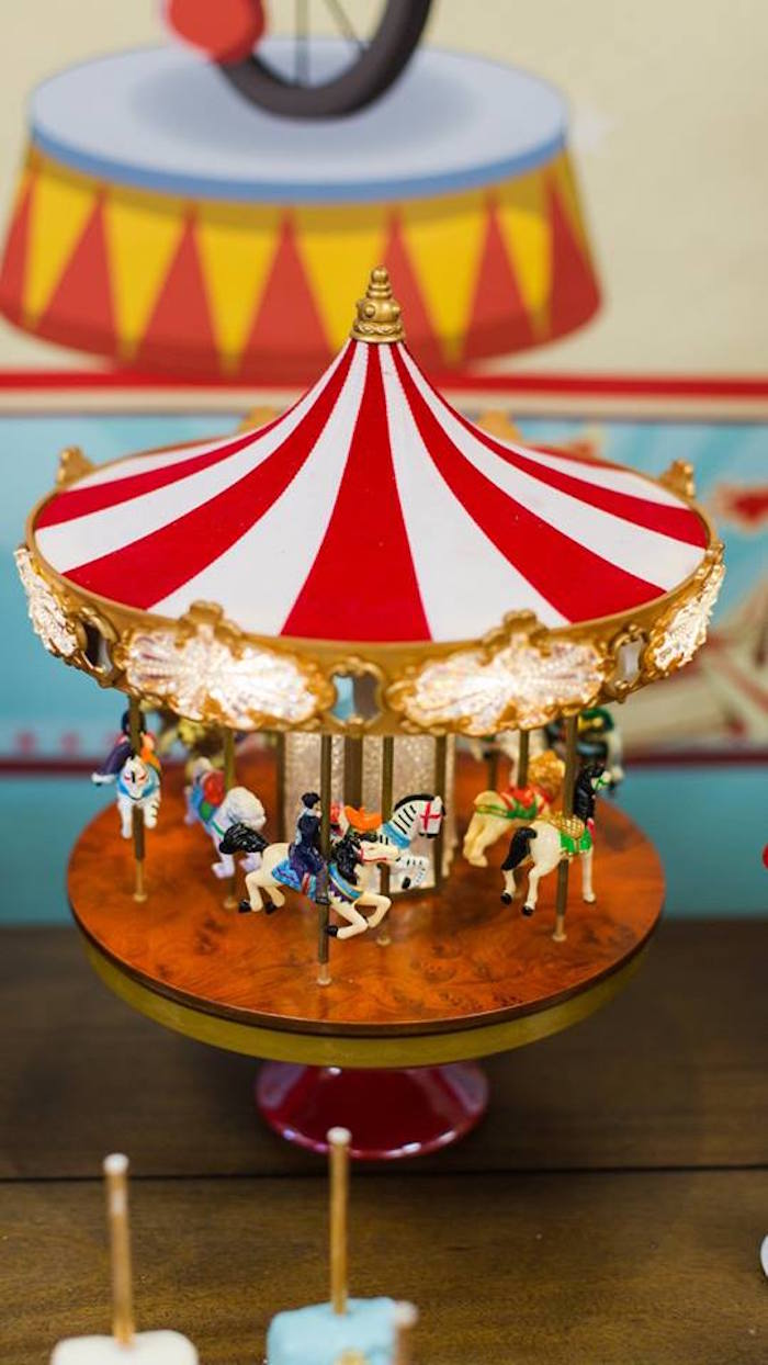 Musical carousel from a Vintage Circus Birthday Party on Kara's Party Ideas | KarasPartyIdeas.com (31)