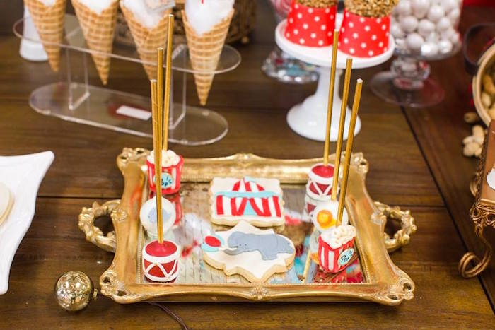 Circus cookies & cake pops from a Vintage Circus Birthday Party on Kara's Party Ideas | KarasPartyIdeas.com (30)
