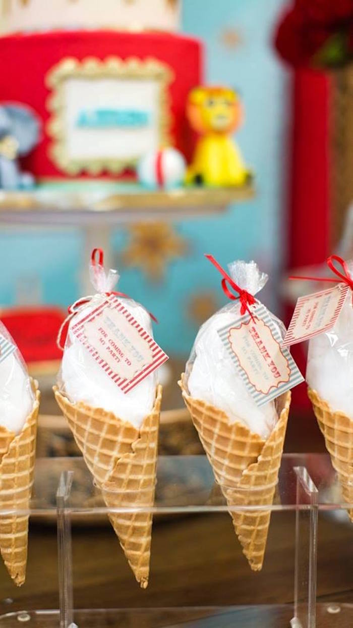 Waffle cone cotton candy favors from a Vintage Circus Birthday Party on Kara's Party Ideas | KarasPartyIdeas.com (26)