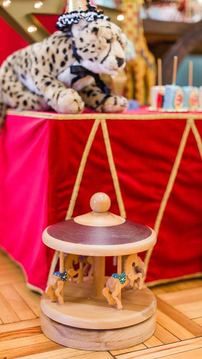 Wooden carousel decoration from a Vintage Circus Birthday Party on Kara's Party Ideas | KarasPartyIdeas.com (23)