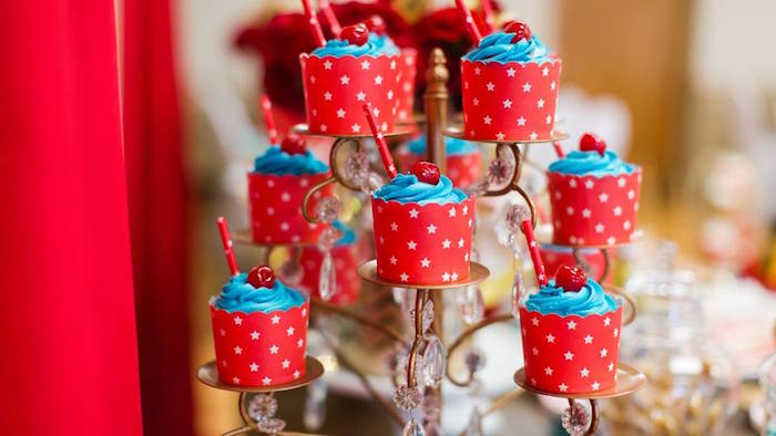 Star spangled cupcakes from a Vintage Circus Birthday Party on Kara's Party Ideas | KarasPartyIdeas.com (22)