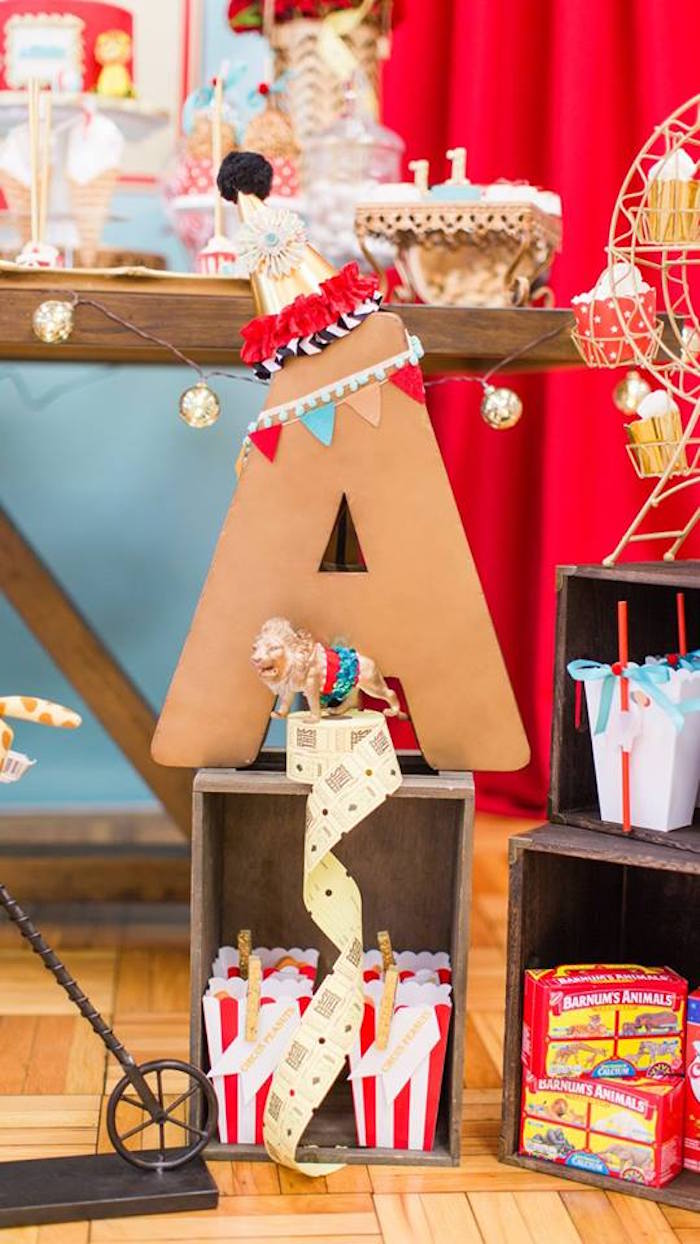 Circus styled block letter from a Vintage Circus Birthday Party on Kara's Party Ideas | KarasPartyIdeas.com (20)