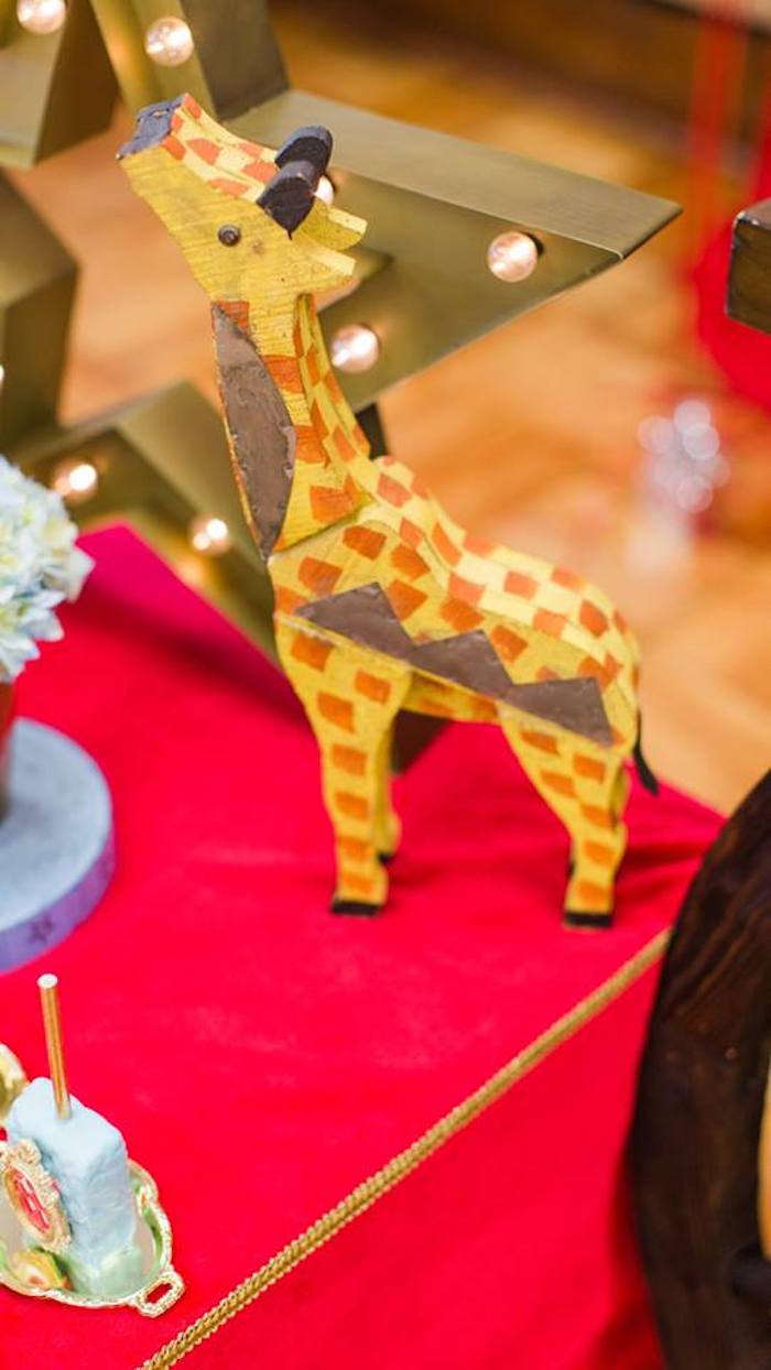 Giraffe decoration from a Vintage Circus Birthday Party on Kara's Party Ideas | KarasPartyIdeas.com (13)