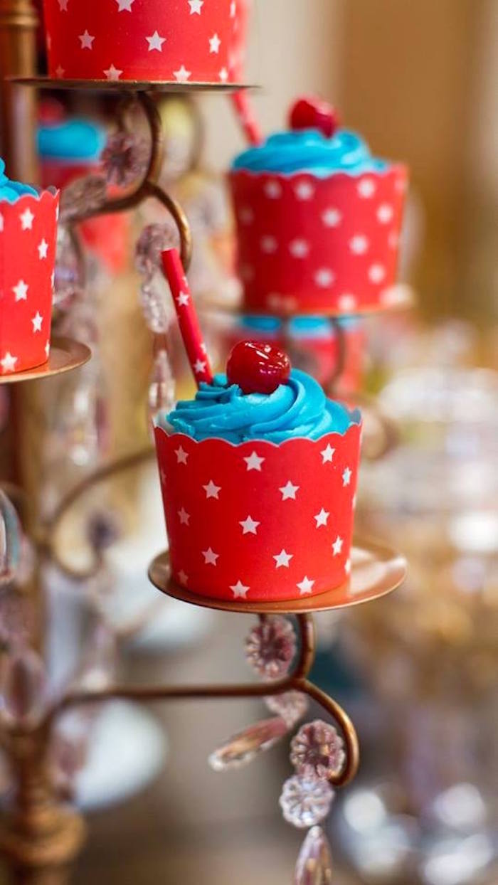 Sundae-inspired cupcake from a Vintage Circus Birthday Party on Kara's Party Ideas | KarasPartyIdeas.com (47)