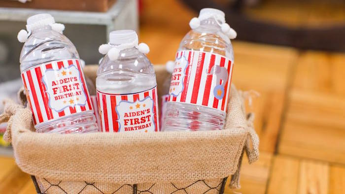 Water bottles from a Vintage Circus Birthday Party on Kara's Party Ideas | KarasPartyIdeas.com (10)