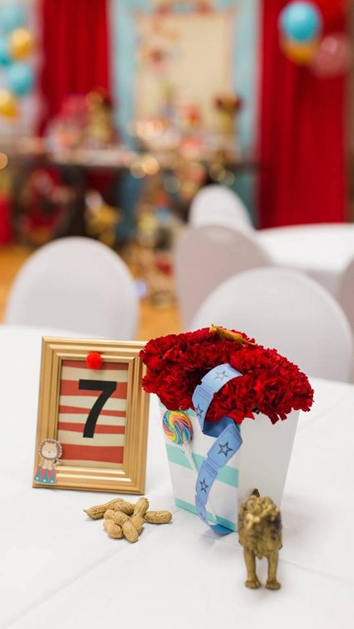 Guest table centerpieces from a Vintage Circus Birthday Party on Kara's Party Ideas | KarasPartyIdeas.com (8)