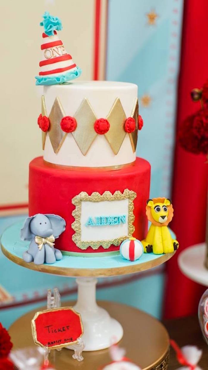 Vintage circus cake from a Vintage Circus Birthday Party on Kara's Party Ideas | KarasPartyIdeas.com (7)