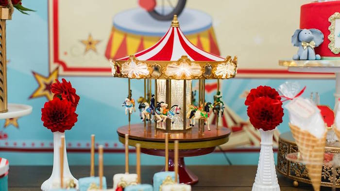 Musical carousel from a Vintage Circus Birthday Party on Kara's Party Ideas | KarasPartyIdeas.com (6)