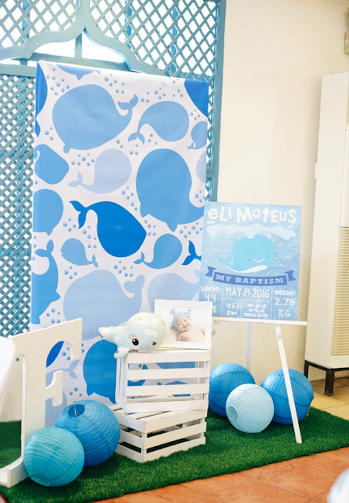 Whale photo backdrop from a Whale Themed Baptism + Birthday Party on Kara's Party Ideas | KarasPartyIdeas.com (33)