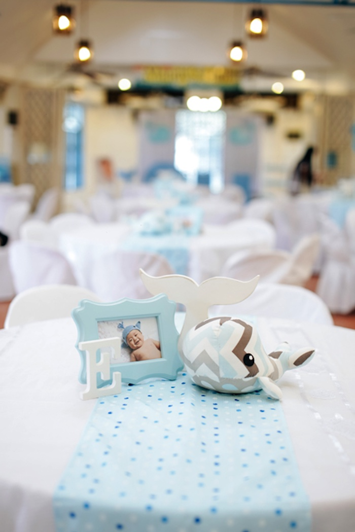 Guest table centerpieces from a Whale Themed Baptism + Birthday Party on Kara's Party Ideas | KarasPartyIdeas.com (30)
