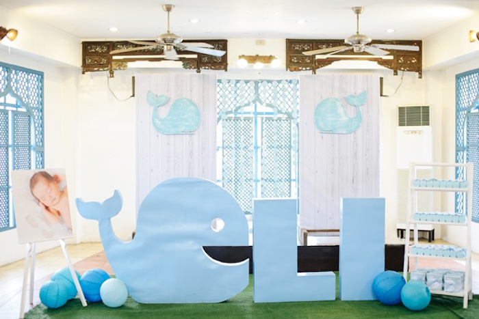 Whale backdrop from a Whale Themed Baptism + Birthday Party on Kara's Party Ideas | KarasPartyIdeas.com (29)