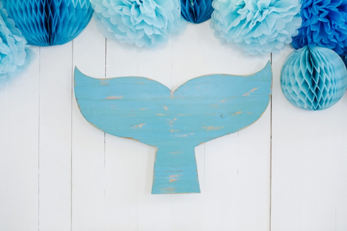 Wooden whale backdrop from a Whale Themed Baptism + Birthday Party on Kara's Party Ideas | KarasPartyIdeas.com (27)