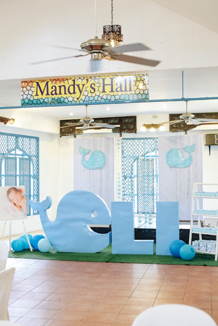 Whale letters + party backdrop from a Whale letters from a Whale Themed Baptism + Birthday Party on Kara's Party Ideas | KarasPartyIdeas.com (24)