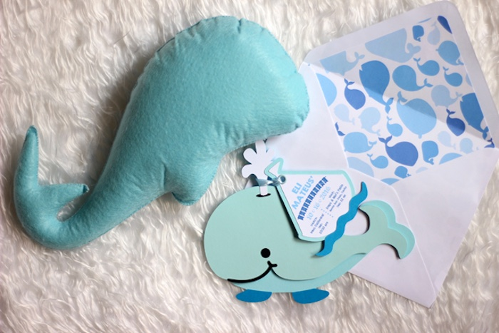 Whale invitation from a Whale Themed Baptism + Birthday Party on Kara's Party Ideas | KarasPartyIdeas.com (42)