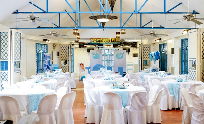 Guest tables + partyscape from a Whale Themed Baptism + Birthday Party on Kara's Party Ideas | KarasPartyIdeas.com (23)