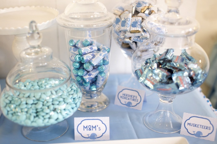 Candy buffet from a Whale Themed Baptism + Birthday Party on Kara's Party Ideas | KarasPartyIdeas.com (21)