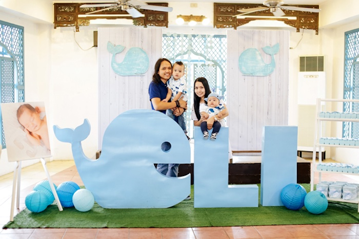 Party backdrop from a Whale Themed Baptism + Birthday Party on Kara's Party Ideas | KarasPartyIdeas.com (20)