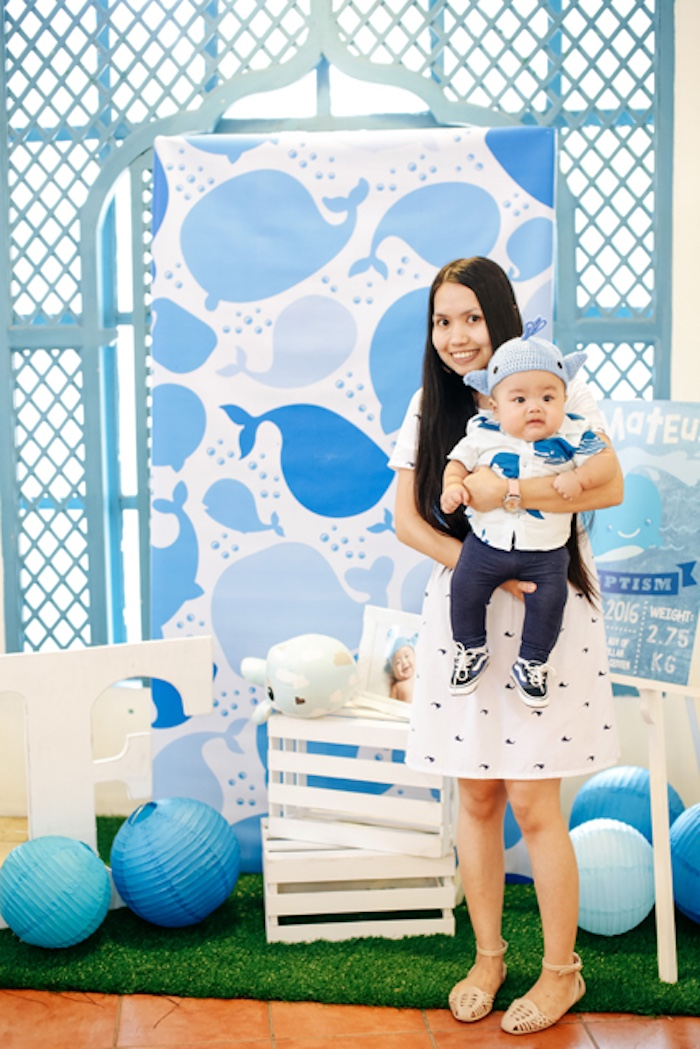 Photo backdrop from a Whale Themed Baptism + Birthday Party on Kara's Party Ideas | KarasPartyIdeas.com (19)