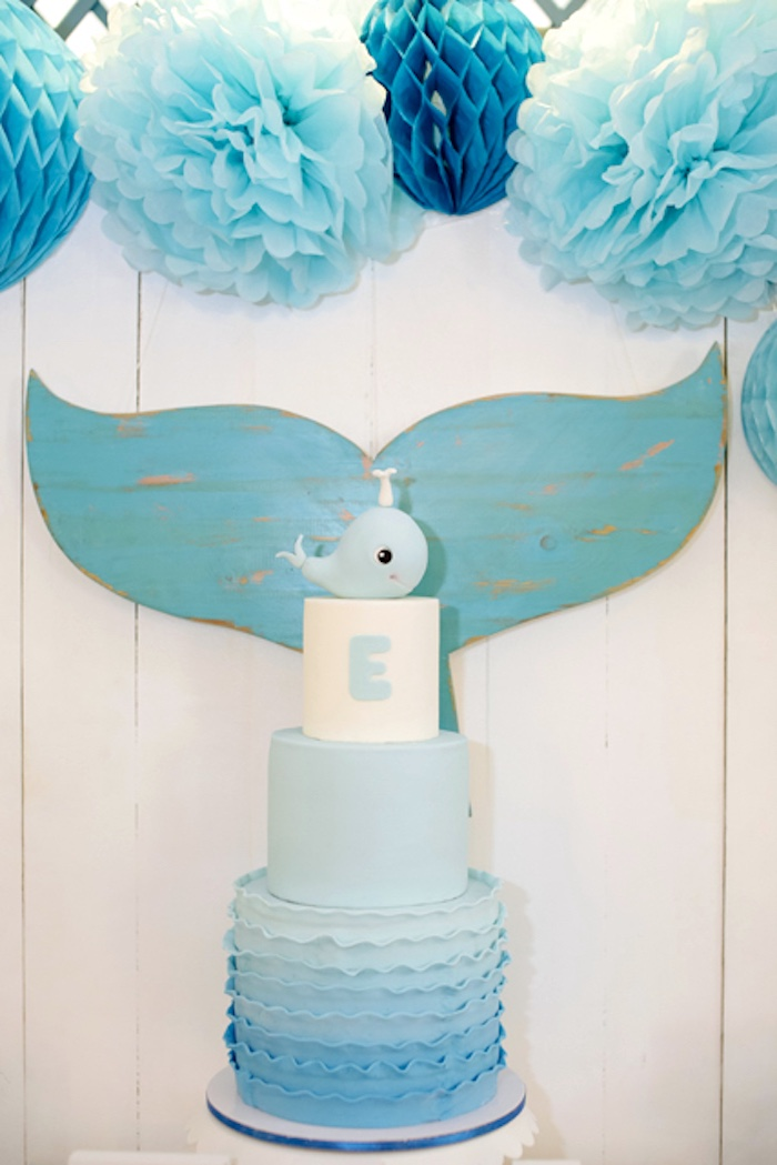 Whale cake from a Whale Themed Baptism + Birthday Party on Kara's Party Ideas | KarasPartyIdeas.com (18)
