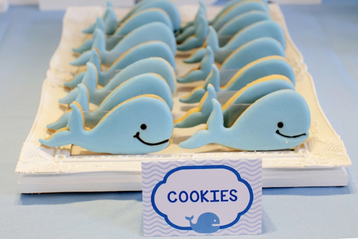Whale cookies from a Whale Themed Baptism + Birthday Party on Kara's Party Ideas | KarasPartyIdeas.com (17)