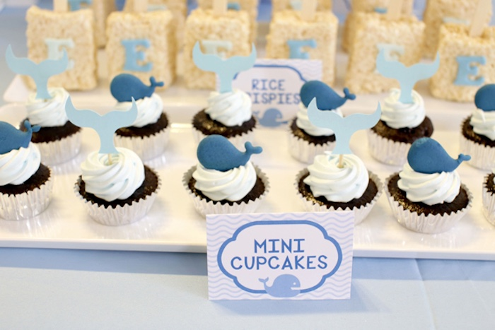 Mini whale cupcakes from a Whale Themed Baptism + Birthday Party on Kara's Party Ideas | KarasPartyIdeas.com (16)