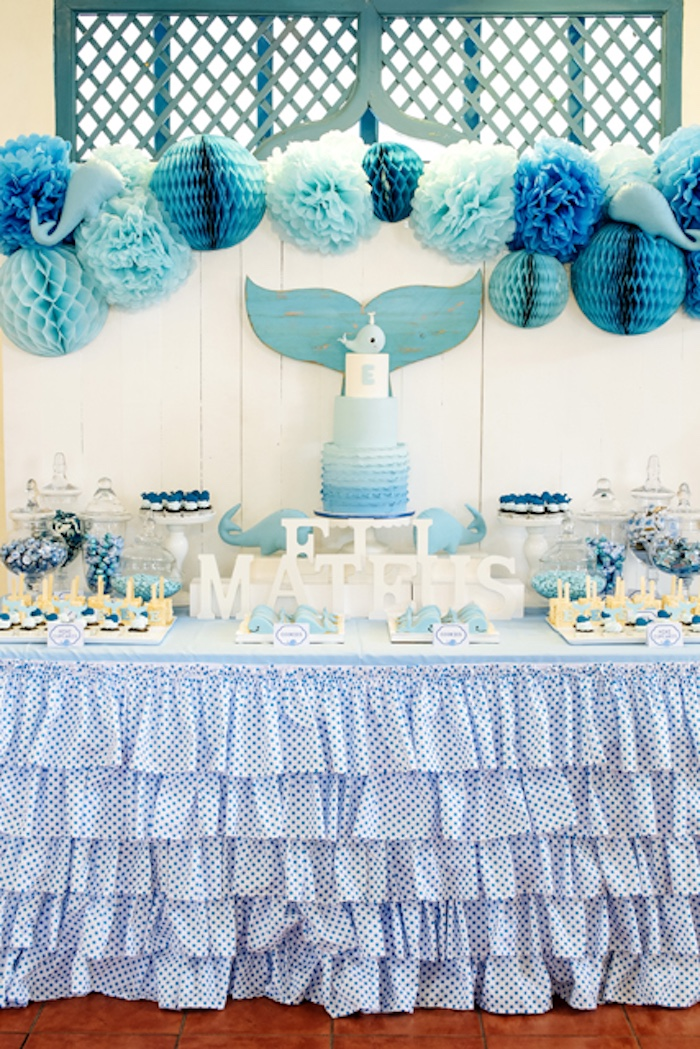 Kara S Party Ideas Whale Themed Baptism Birthday Party