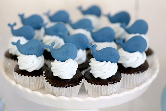 Whale cupcakes from a Whale Themed Baptism + Birthday Party on Kara's Party Ideas | KarasPartyIdeas.com (14)