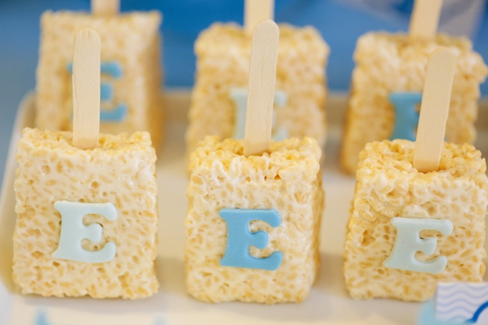 Letter Rice Krispie Treats from a Whale Themed Baptism + Birthday Party on Kara's Party Ideas | KarasPartyIdeas.com (13)