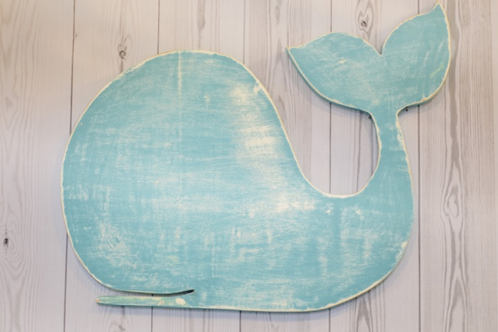 Weathered whale wall hanging from a Whale Themed Baptism + Birthday Party on Kara's Party Ideas | KarasPartyIdeas.com (12)