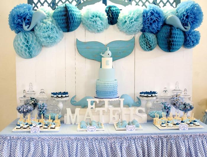 Dessert spread from a Whale Themed Baptism + Birthday Party on Kara's Party Ideas | KarasPartyIdeas.com (10)