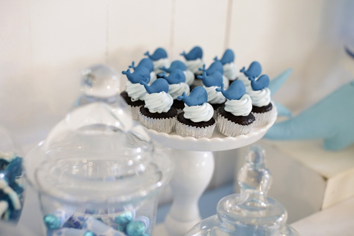 Whale cupcakes from a Whale Themed Baptism + Birthday Party on Kara's Party Ideas | KarasPartyIdeas.com (9)
