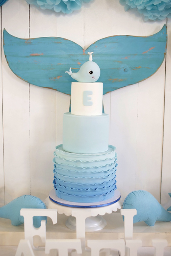 Whale cake from a Whale Themed Baptism + Birthday Party on Kara's Party Ideas | KarasPartyIdeas.com (7)