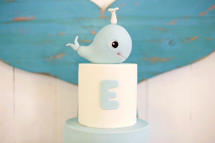 Whale cake from a Whale Themed Baptism + Birthday Party on Kara's Party Ideas | KarasPartyIdeas.com (6)