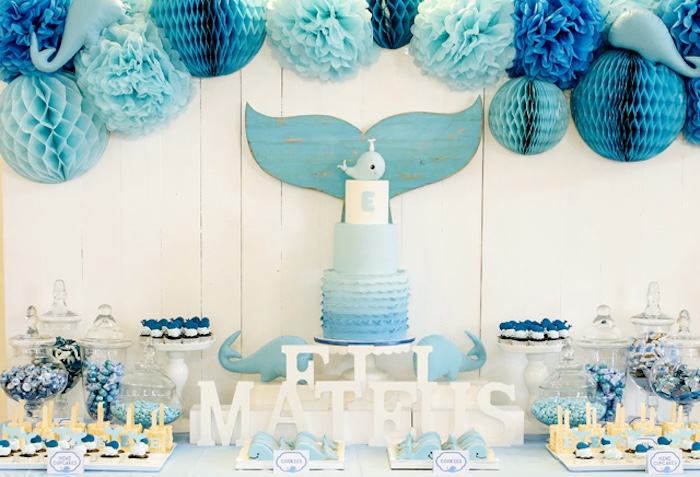 Dessert Table From A Whale Themed Baptism + Birthday Party On Karau0027s Party  Ideas | KarasPartyIdeas