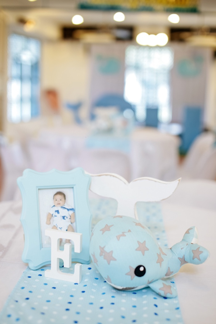 Whale guest table from a Whale Themed Baptism + Birthday Party on Kara's Party Ideas | KarasPartyIdeas.com (34)