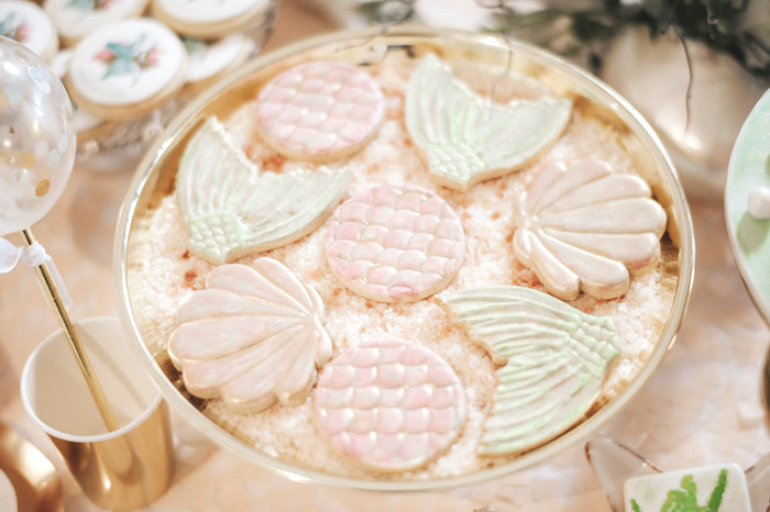 Seashell and mermaid tail cookies from a Whimsical Mermaid Birthday Party on Kara's Party Ideas | KarasPartyIdeas.com (52)