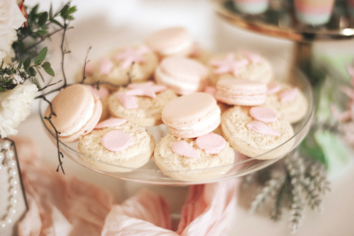 Seas shore cookies and macarons from a Whimsical Mermaid Birthday Party on Kara's Party Ideas | KarasPartyIdeas.com (49)