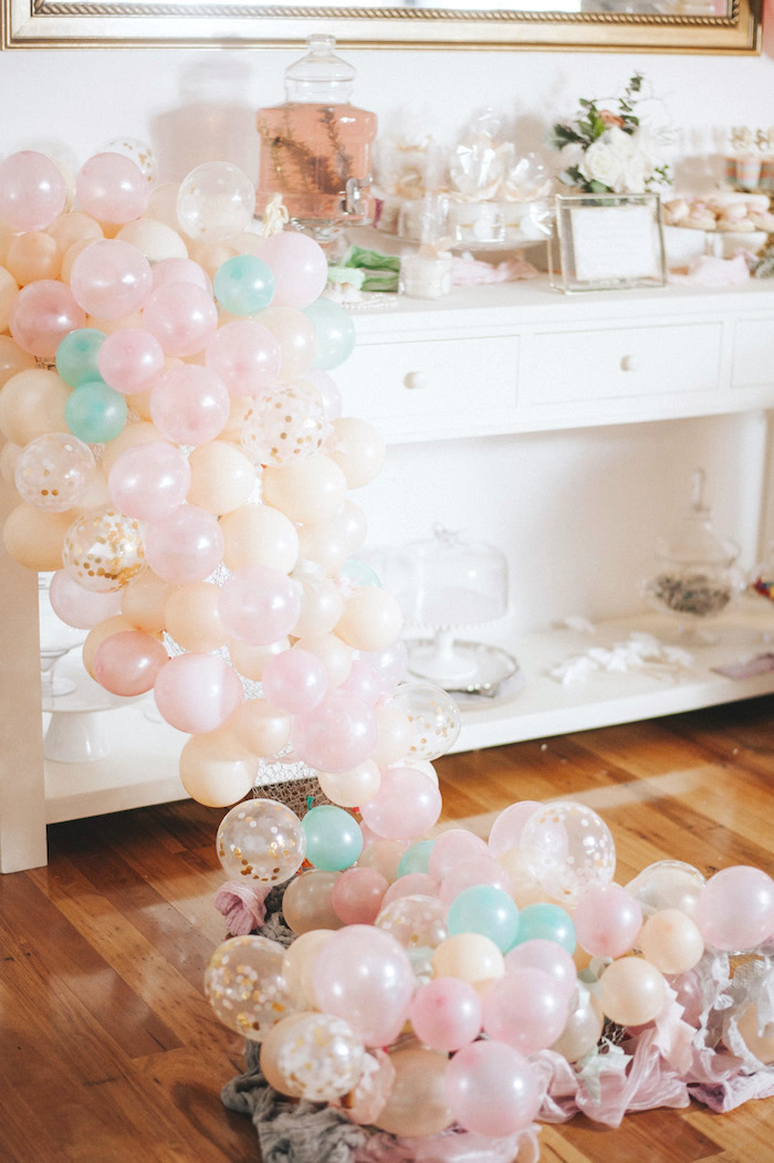 Sweet table adorned with a mermaid fin balloon garland from a Whimsical Mermaid Birthday Party on Kara's Party Ideas | KarasPartyIdeas.com (38)