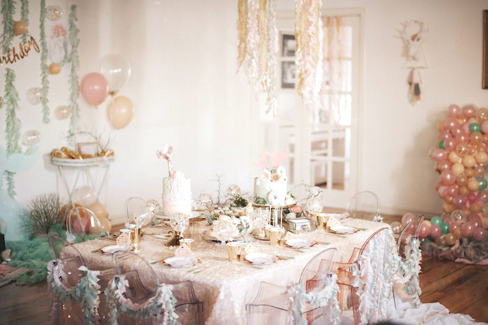 Shimmering sea guest table from a Whimsical Mermaid Birthday Party on Kara's Party Ideas | KarasPartyIdeas.com (36)