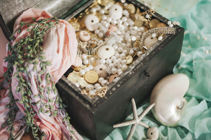 Seashell treasure chest from a Whimsical Mermaid Birthday Party on Kara's Party Ideas | KarasPartyIdeas.com (30)