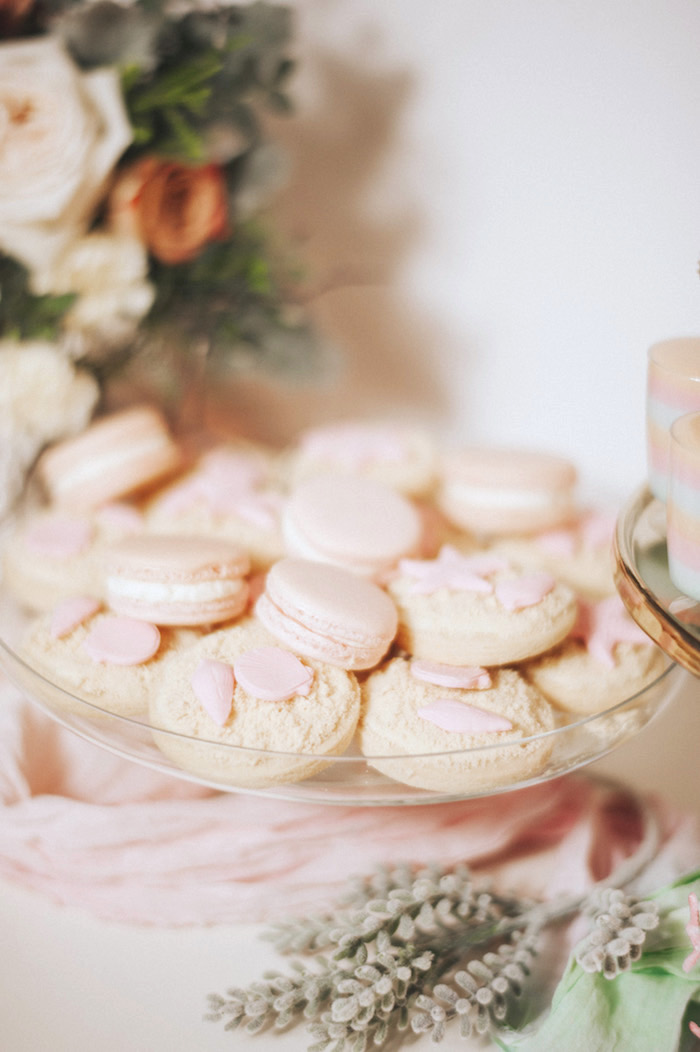 Sea shore cookies and pink macarons from a Whimsical Mermaid Birthday Party on Kara's Party Ideas | KarasPartyIdeas.com (19)