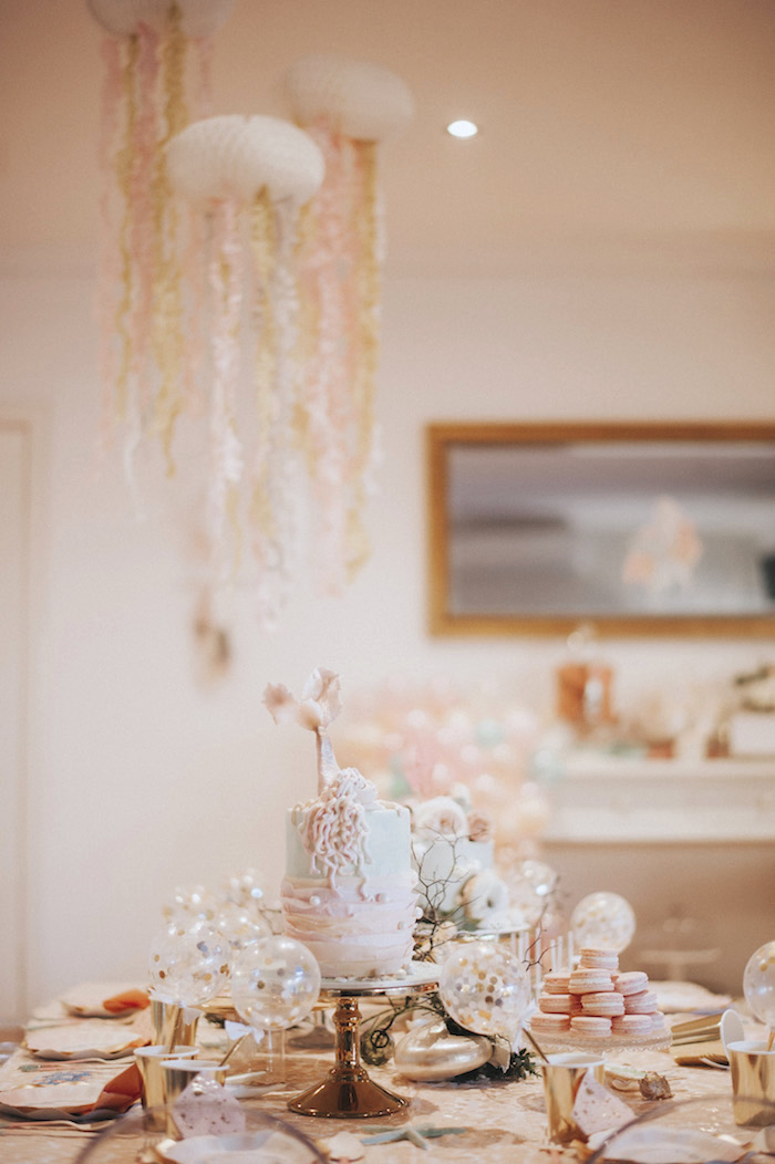 Guest tablescape from a Whimsical Mermaid Birthday Party on Kara's Party Ideas | KarasPartyIdeas.com (17)