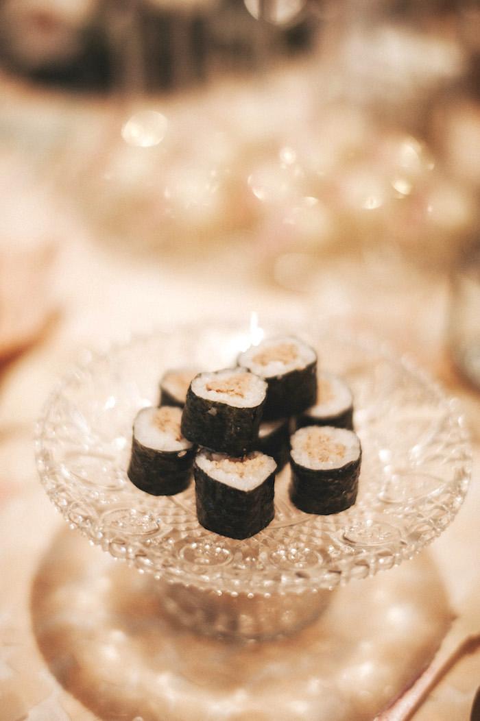Sushi rolls from a Whimsical Mermaid Birthday Party on Kara's Party Ideas | KarasPartyIdeas.com (13)