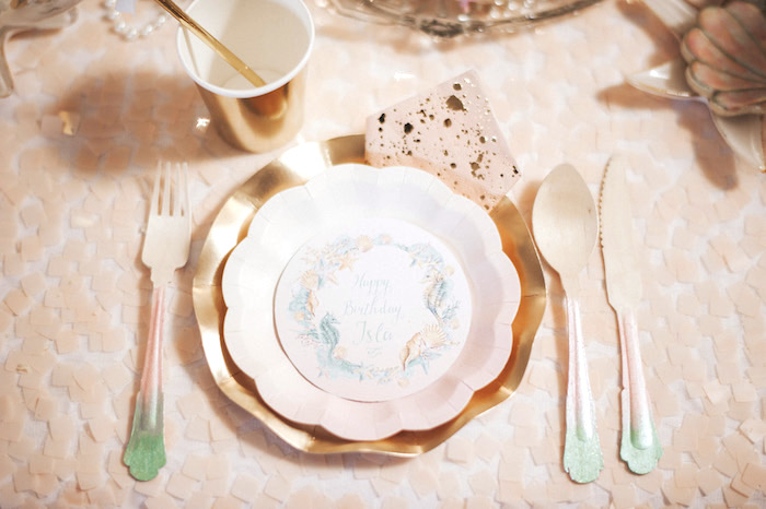 Mermaid-inspired place setting from a Whimsical Mermaid Birthday Party on Kara's Party Ideas | KarasPartyIdeas.com (58)